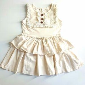 Mustard pie girl's dress, ivory, size 8, ruffles.